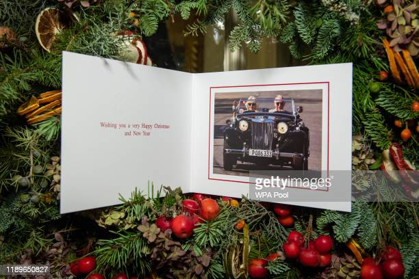 The 2019 Christmas card of Prince Charles, Prince of Wales and Camilla, Duchess of Cornwall on a Christmas tree at Clarence House on December 20,...