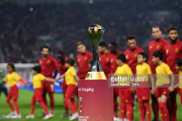 The 2019 FIFA Club World Cup trophy is displayed ahead of the FIFA Club World Cup Qatar 2019 Final match between Liverpool FC and CR Flamengo at...