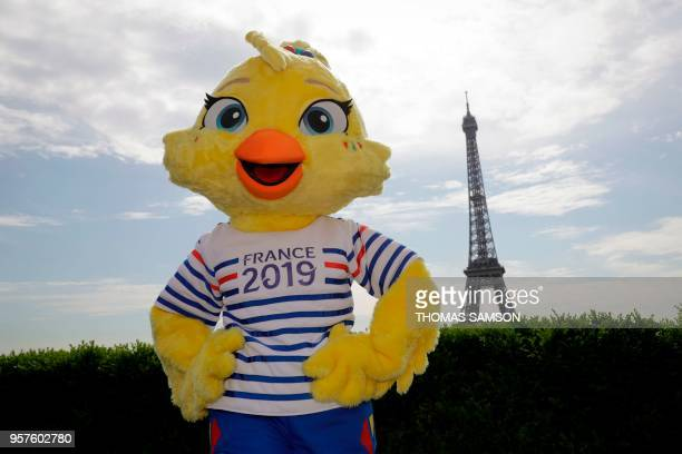 The 2019 FIFA Womens World Cup official mascot 'Ettie' is revealed during a press conference in front of The Eiffel Tower in Paris on May 12 2018