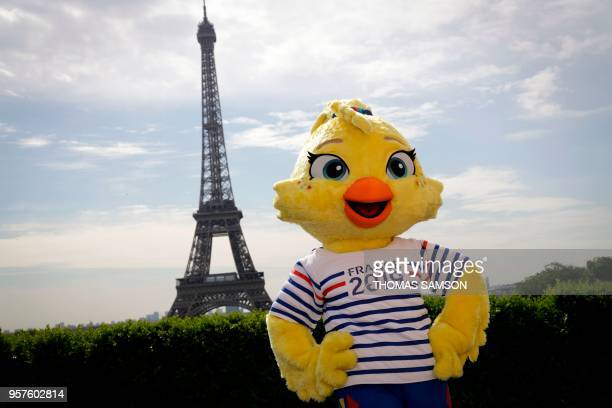 TOPSHOT The 2019 FIFA Womens World Cup official mascot 'Ettie' is revealed during a press conference in front of The Eiffel Tower in Paris on May 12...
