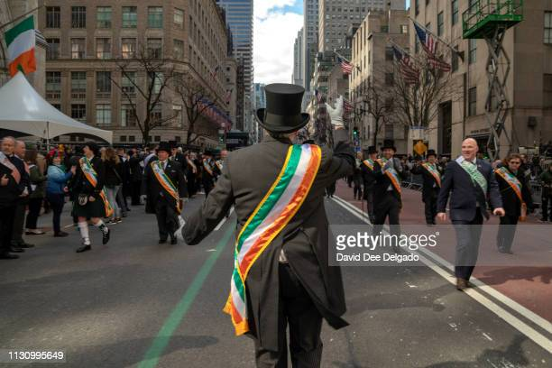 The 2019 Grand MarshalDr Brian J O'Dwyer marches in the annual St Patrick's Day parade on March 16 2019 in New York City The New York City St...