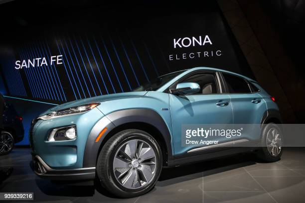 The 2019 Hyundai Kona Electric is unveiled at the New York International Auto Show March 28 2018 at the Jacob K Javits Convention Center in New York...