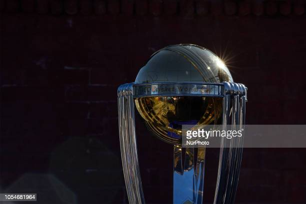 The 2019 ICC Cricket World Cup trophy is pictured in Chandragiri Hills during a country tour in Kathmandu Nepal on Sunday October 28 2018 The 2019...