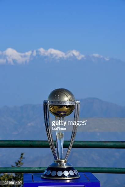 The 2019 ICC Cricket World Cup trophy is pictured infront beautiful mountain ranges in Chandragiri Hills during a country tour in Kathmandu Nepal on...