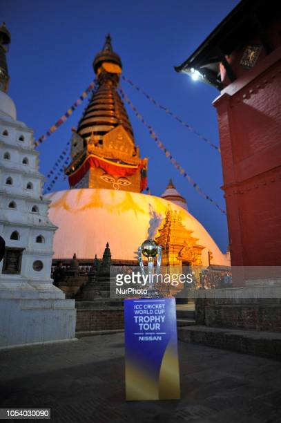 The 2019 ICC Cricket World Cup trophy is pictured infront Swayambhunath Stupa or Monkey Temple during a country tour in Kathmandu Nepal on Friday...