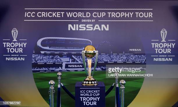 The 2019 ICC Cricket World Cup trophy is seen during an event in Colombo on September 22 2018 The 2019 Cricket World Cup is the scheduled to be...