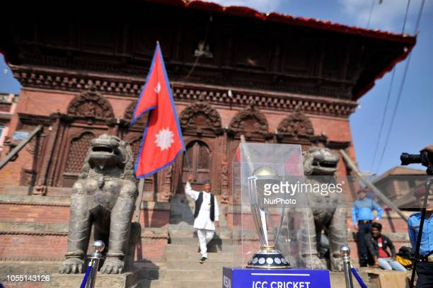 The 2019 ICC Cricket World Cup trophy pictured at the premises of Basantapur Durbar Square during a country tour in Kathmandu Nepal on Monday October...