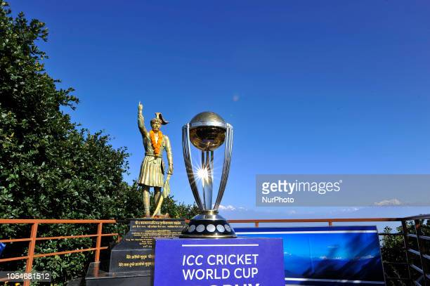 The 2019 ICC Cricket World Cup trophy pictured infront the statue of first monarch of Kingdom of Nepal Prithvi Narayan Shah in Chandragiri Hills...