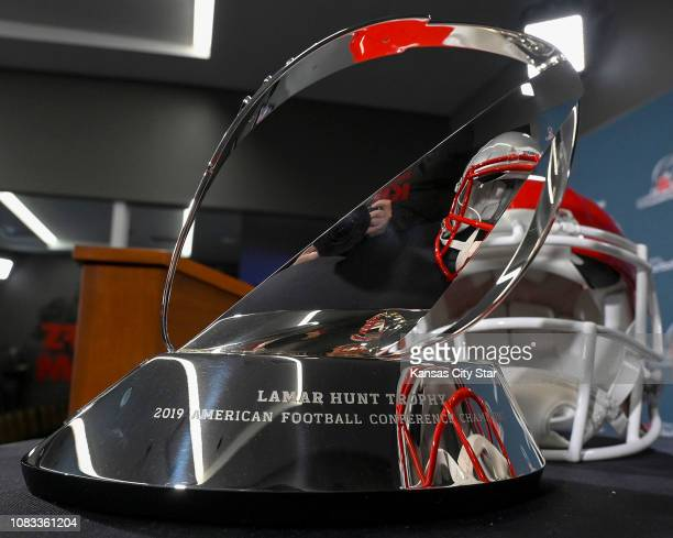 The 2019 Lamar Hunt Trophy on Wednesday Jan 16 ahead of the AFC Championship game between the Kansas City Chiefs and New England Patriots