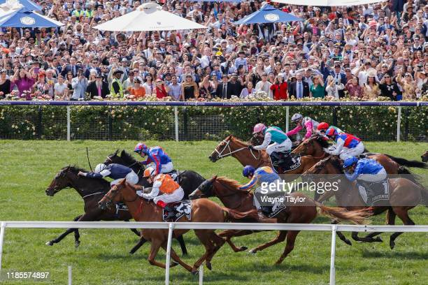 The 2019 Lexus Melbourne cup won by number 23 Vow and Declare ridden by Crag Williams on 2019 Lexus Melbourne Cup Day at Flemington Racecourse on...