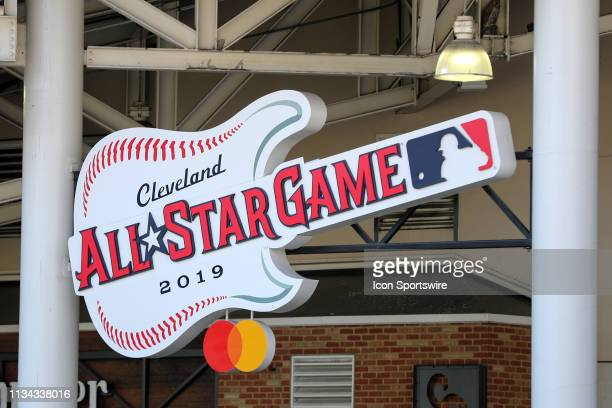 The 2019 Major League Baseball All Star Game logo is on display prior to the Major League Baseball home opener between the Chicago White Sox and...