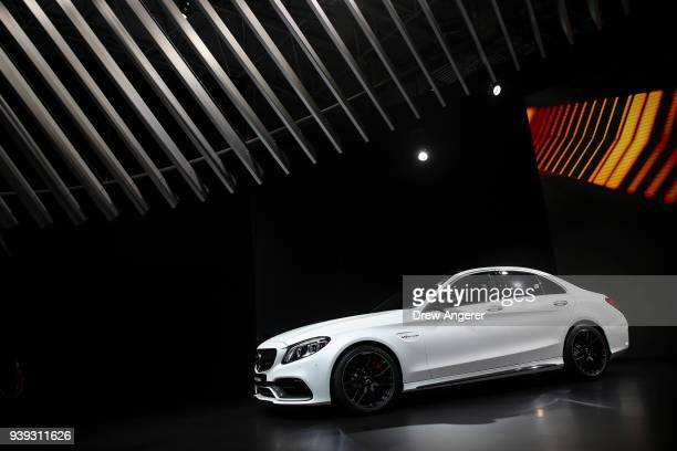 The 2019 MercedesBenz AMG C63 sedan is displayed during the MercedesBenz media event at the New York International Auto Show March 28 2018 at the...