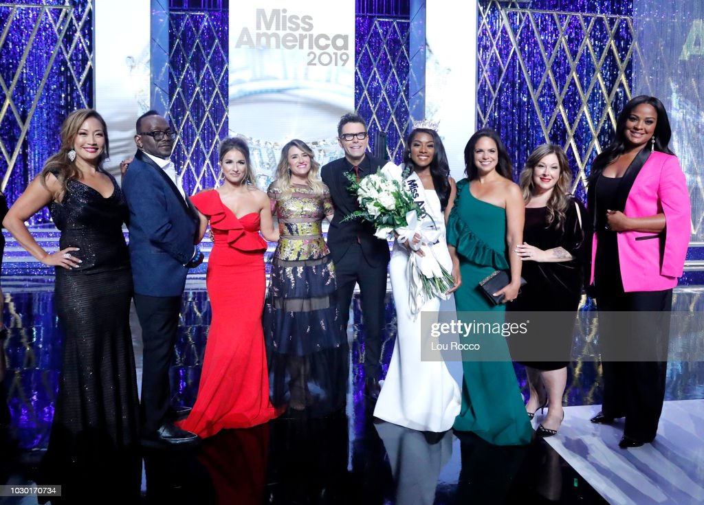 The '2019 Miss America Competition' broadcasts live from Atlantic City's Boardwalk Hall on Sunday, Sept. 9, 2018 (9-11pm, ET) on the ABC Television Network. CARRIE ANN INABA, RANDY JACKSON, JESSIE JAMES DECKER, ALLI WEBB, BOBBY BONES, MISS AMERICA NIA IMANI FRANKLIN, SOLEDAD O
