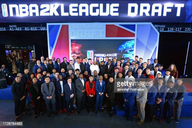 The 2019 NBA 2K League draft class poses for a group photo before the draft on March 5 2019 in Brooklyn New York at the Barclays Center NOTE TO USER...