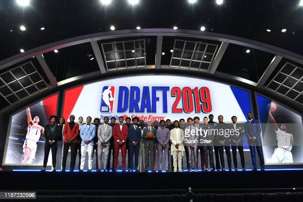 The 2019 NBA Draft prospects stand on stage with NBA Commissioner Adam Silver before the start of the 2019 NBA Draft at the Barclays Center on June...