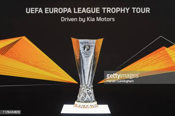 The 2019 UEFA Europa League Trophy Tour driven by Kia at the Geneva International Motor Show at Palexpo on March 9 2019 in Geneva Switzerland The...