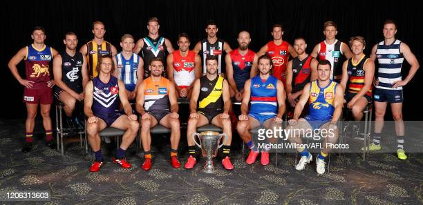 The 2020 AFL Captains pose for a photograph during the 2020 AFL Captains Day at Marvel Stadium on March 10, 2020 in Melbourne, Australia.