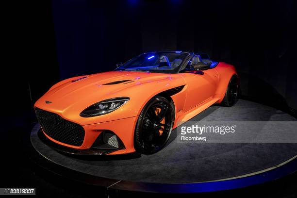 The 2020 Aston Martin DBS Superleggera Volante stands on display at AutoMobility LA ahead of the Los Angeles Auto Show in Los Angeles, California,...