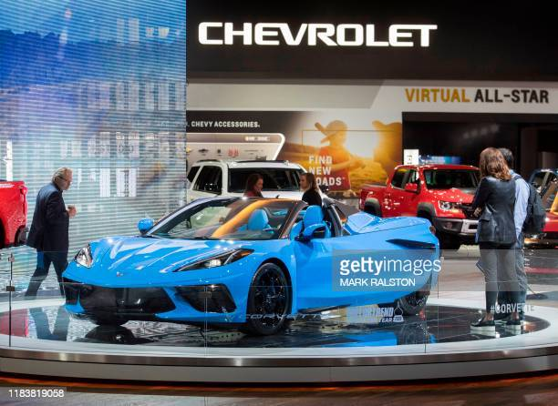 The 2020 Chevrolet Corvette sports car on display during the AutoMobility LA event at the 2019 Los Angeles Auto Show in Los Angeles California on...