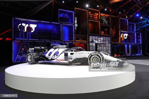The 2020 F1 car AT01 is on display during the Scuderia AlphaTauri launch event at Hangar 7 on February 14 2020 in Salzburg Austria