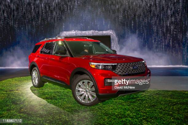 The 2020 Ford Explorer hybrid is shown at AutoMobility LA on November 21, 2019 in Los Angeles, California. The four-day press and trade event...