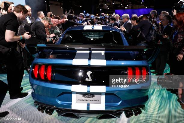 The 2020 Ford Mustang Shelby GT 500 is revealed at the 2019 North American International Auto Show during Media preview days on January 14 2019 in...
