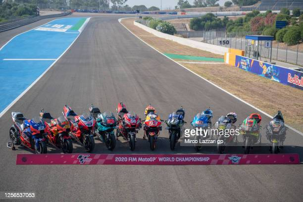 The 2020 MotoGP bikes parked on the track during the official photo of the 2020 season during the MotoGP of Spain - Media Opportunity at Circuito de...