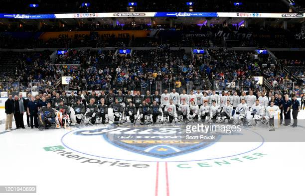 The 2020 NHL AllStars and their celebrity coaches pose for a team photo prior to the 2020 NHL AllStar Game at the Enterprise Center on January 25...
