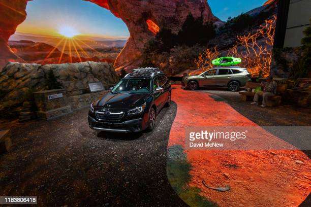 The 2020 Subaru Outback is seen in a U.S. National Park-themed display at AutoMobility LA on November 21, 2019 in Los Angeles, California. The...