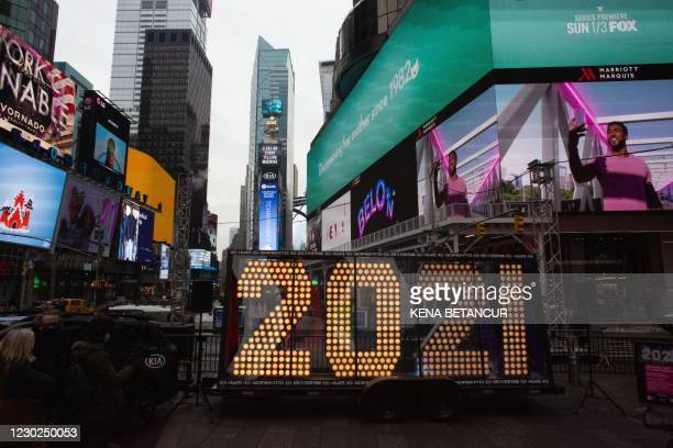"The ""2021"" New Year's Eve numerals are lit up after arriving in Times Square plaza in New York on December21, 2020."
