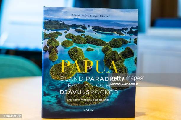 The 2022 Panda book entitled Papua: Among paradise birds and devils rocks seen during the WWFs annual meeting at Ulriksdals Castle on October 22,...