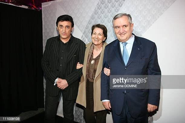 The 20th Anniversary of M6 in Tuileries gardens in Paris, France on March 08th, 2007 - Dick Rivers and Jean-Pierre Raffarin and his wife Anne-Marie