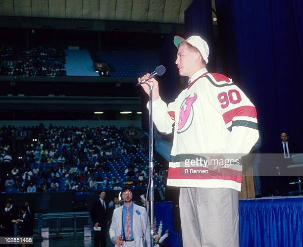 The 20th pick of the 1990 NHL Draft Martin Brodeur of the New Jersey Devils talks to the crowd on June 16 1990 at the BC Place Stadium in Vancouver...