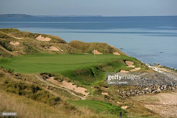 The 214 yard par 3 7th hole 'Shipwreck' on the Straits Course at Whistling Straits on September 17 2005 in Kohler Wisconsin United States