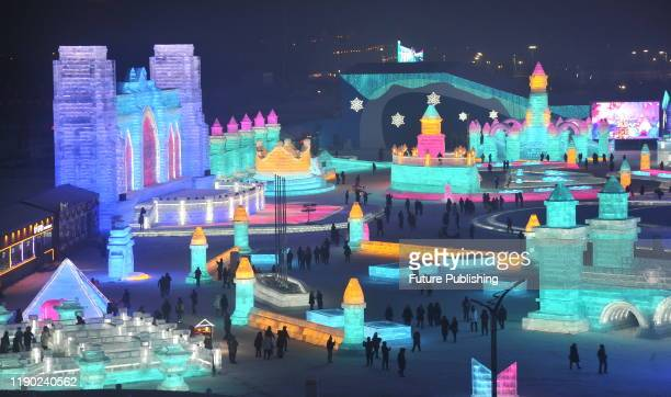 HARBIN CHINA DECEMBER 23 2019 The 21st Harbin Ice and snow world opened Chinese and foreign tourists came to visit Harbin Heilongjiang Province China...
