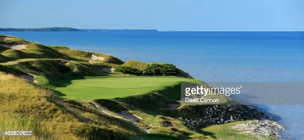 The 221 yards par 3 7th hole 'Shipwreck' on the Whistling Straits 'Straits' Course venue for the 2015 PGA Championship on August 14 2014 in Kohler...