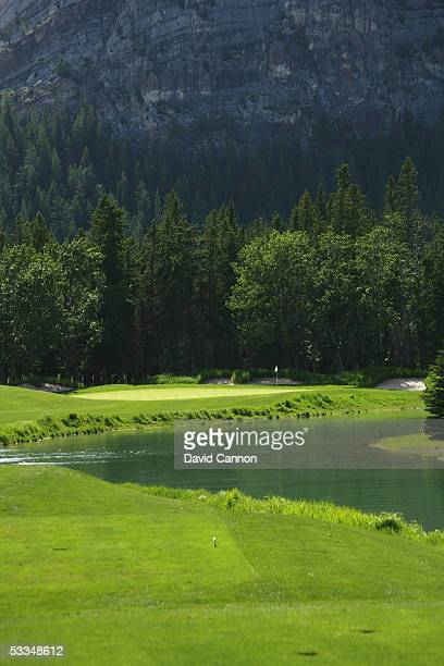 The 225 yard par 3 10th hole on the Stanley Thompson Eighteen Course at The Fairmont Banff Springs Resort on June 24 2005 in Banff Alberta Canada