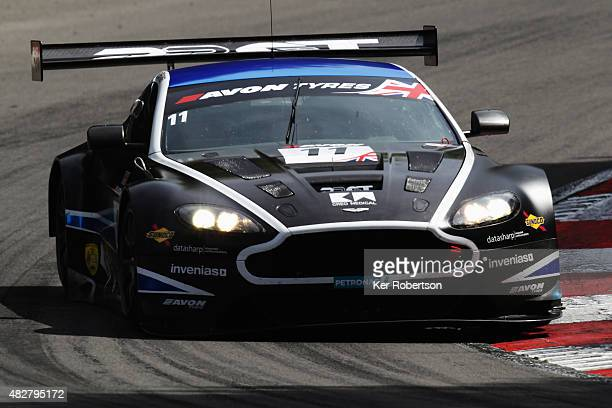 The 22GT Racing Aston Martin Vantage of Mark Farmer and Jon Barnes drives during the British GT Championship race at Brands Hatch on August 2, 2015...