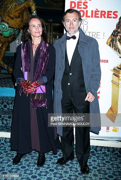 The 22nd 'Nuit des Molieres 2008' at the Folies Bergere in Paris France on April 28 2008 Christophe Malavoy and his wife