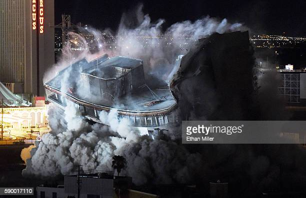 The 22story Monte Carlo tower at the shuttered Riviera Hotel Casino is imploded along with the property's other remaining structures on August 16...