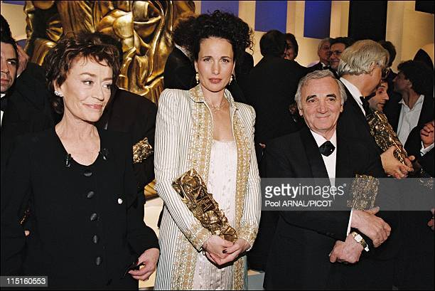 The 22th evening of 'Cesars' in Paris France on February 07 1997 Annie Girardot president of the ceremony Andy McDowell Charles Aznavour Honorary...