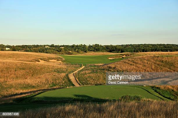The 237 yards par 3 sixth hole at Erin Hills Golf Course the venue for the 2017 US Open Championship on August 31 2016 in Erin Wisconsin