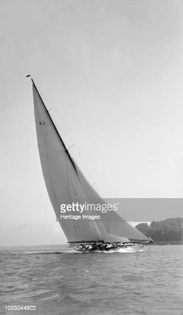 The 23-metre cutter 'Astra' sailing close-hauled, 1931. 'Astra' was designed by Charles E Nicholson for Adam Moritimer Singer and was launched in...