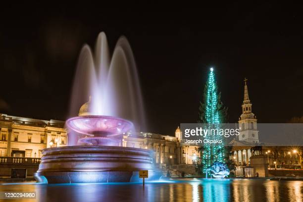 The 23m-tall Christmas tree gifted from Norway stands in Trafalgar Square on December 24, 2020 in London, England. Many Christmas events have been...