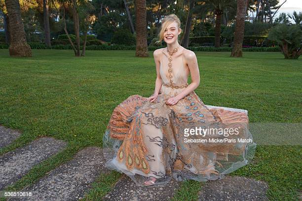 The 23rd gala evening of AmFar Elle Fanning wearing a dress by Valentino is photographed for Paris Match in Cap d Antibes at the Hotel CapEdenRoc on...