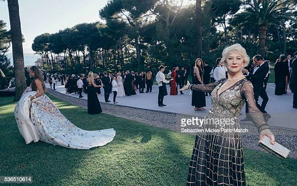 The 23rd gala evening of AmFar Helen Mirren wearing a dress by Alice Temperley and Harry Winston jewellery is photographed for Paris Match in Cap d...