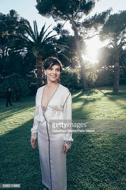 The 23rd gala evening of AmFar Juliette Binoche wearing a dress by Chanel and Chopard jewellery is photographed for Paris Match in Cap d Antibes at...