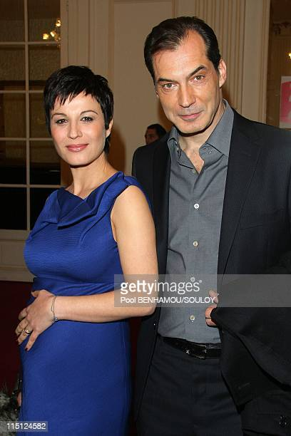 The 23rd Nuit des Molieres at the Theatre de Paris France on April 26 2009 Samuel Labarthe and his wife Helene Medigue