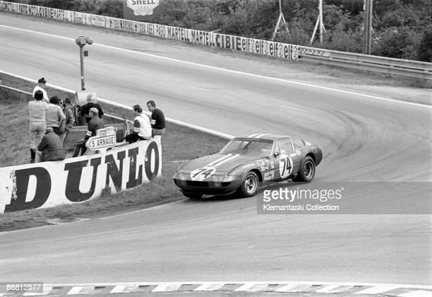 The 24 Hours of Le Mans Le Mans June 1011 1972 All alone coming around Mulsanne is the Ferrari 365GTB/4 NARTDaytona of Sam Posey and Tony Adamowicz...