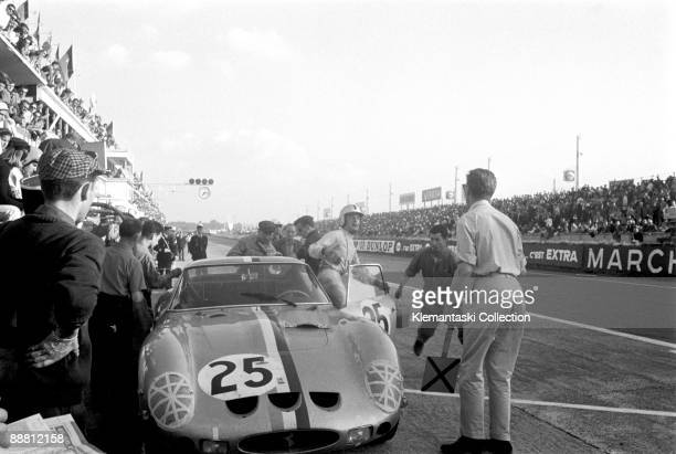 The 24 Hours of Le Mans Le Mans June 1516 1963 Pierre Dumay leaps from the Ferrari 250GTO which he shared with LeonDernier finishing fourth overall